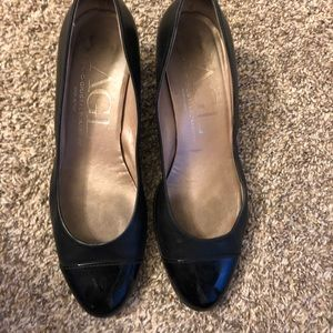 AGI BLACK VERO Cucio leather cap toe pumps SIZE 39